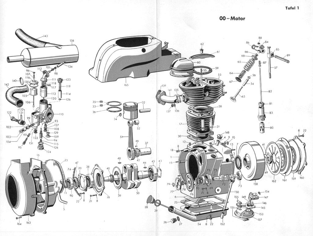 Isetta-online.de - Explosionszeichnung - Isetta Standard - Motor